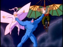 The Tick grasps onto both Arthur and a pedaling Leonard Da Vinci to stay airborne.