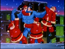 "Reluctant to strike Jolly Old Saint Nick, The Tick wrestles with four clones of Multiple Santa. It's like ""Jingle All the Way"", only much better."