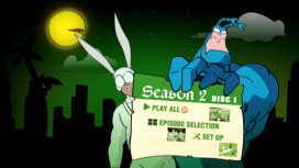 The Main Menu screen is subtly and cleverly animated to incorporate elements of the disc's episodes. Note the bending palm tree in the rear left.
