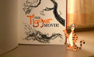 Tigger approves of the Tigger Movie title logo he just quickly put together in the part live-action opening sequence.