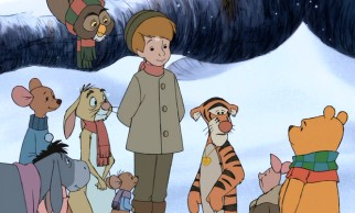 Christopher Robin turns up (with British accent) for a happy reunion in the snow.