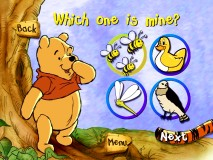 Pooh stays cheery as the questions get tougher in Round 2 of the Thingamajigger Matching Game.