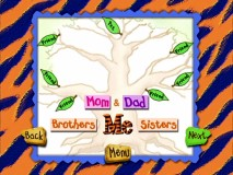 Kids can learn how to compile a family tree that includes friends in neon green.