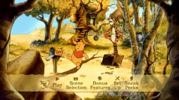 Pooh and Tigger momentarily share the animated autumnal main menu screen.