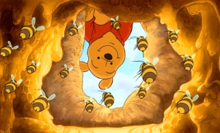 "In the name of searching for Tigger's family tree, Pooh simply must investigate this honey tree, serenade its residents with a ""Lullabee"", and sample a smackerel of its golden contents."