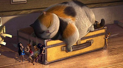 Tink's fairy friends encounter a fat cat asleep on a suitcase in the human house. Better sleepy than cranky!