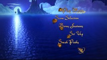 The DVD's main menu mildly animates this long shot of Tink traveling past Skull Rock over moonlit blue water.