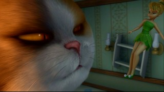 Tinker Bell pulls a whisker on Lizzy's menacing fat cat in this fully-animated deleted scene.