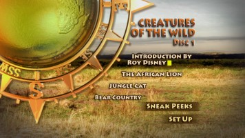 Disc 1's Animated Menu gets you in the mood for wild creatures in Disney True-Life Adventures.