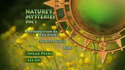 "The classy Disc 1 main menu for ""Volume 4 - Nature's Mysteries."""