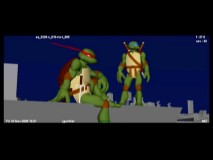 Raph and Leo talk it out in the alternate ending temp/scratch test.