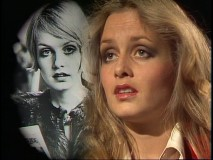 "Twiggy answers a Muppet reporter's question by singing ""In My Life"" next to a montage of personal photographs."