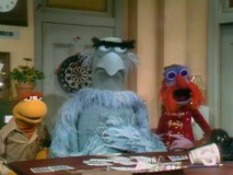 "Kermit wanna-be Nigel, Sam Eagle, and Floyd in the 1975 ""Muppet Show"" pilot ""Sex and Violence."""