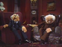 Statler and Waldorf make a rare non-balcony appearance in the pilot special.