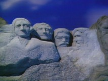 "The presidents of Mount Rushmore try their faces at knock-knock jokes in ""Sex and Violence."""