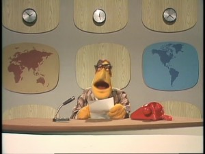 The Muppet Newsflash newsman fills viewers in on all the important, breaking stories.