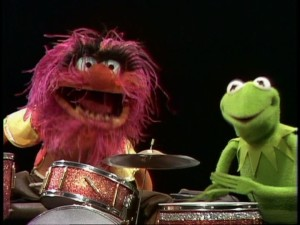 Kermit talks with the rambunctious drummer Animal.