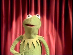 As the series' emcee, Kermit the Frog regularly appears before a red curtain to introduce acts.