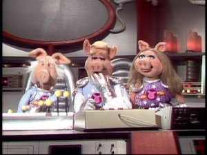 "The recurring ""Pigs in Space"" sketch features, left to right, Dr. Strangepork, Link Hogthrob, and the lady who needs no introduction (but would like one anyway), Miss Piggy."