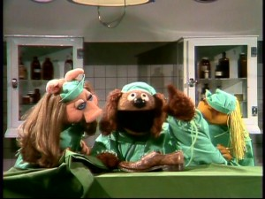 """Veterinarian's Hospital"" is the continuing story of a former orthopedic surgeon who's gone to the dogs. Rowlf plays the absent-minded Dr. Bob, who examines a shoe here, with support from Piggy and Janice."