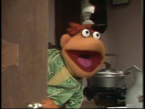 """Oh, [guest's full name], [guest's full name], they're ready for you!"" As the Muppet's gofer, Scooter opens most episodes by alerting the human star."