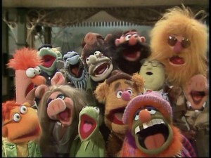 When the show moves to a train station, the core Muppets gather with lesser-knowns to approximate the opening sequence.  Fourteen Muppets singing a song...