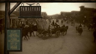 The bustling city of Tombstone, Arizona is displayed in an antiquated filter on the Blu-ray disc's main menu.