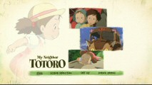 Mei dominates both the background art and the rotating film clips on the main menu for both discs.