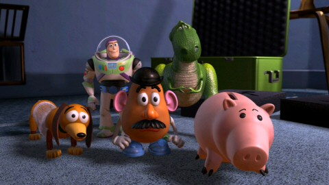 Wait, we have to make another one of these movies?, ask Slinky Dog, utility belt-wearing deluded Buzz Lightyear, Mr. Potato Head, Rex, and Hamm after making it all the way to Al's home office to rescue their pal.