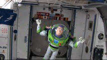 "Toys in space! Buzz Lightyear floats inside a spacecraft as an introduction to ""Buzz Lightyear Mission Logs: International Space Station"", an edutaining short."