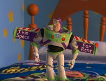 Finding his wings turned into ad space is just one of the ways in which Buzz Lightyear discovers Woody has pranked him in the Outtakes reel.