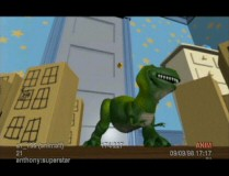 In a typical instance of dinosaur stereotyping, Rex is cast as Godzilla in this deleted scene.