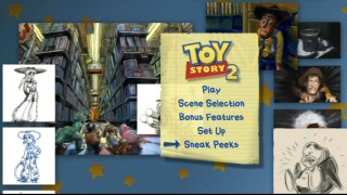 The 16x9 main menu on the 2010 Toy Story 2 DVD roughly approximates the Blu-ray disc's main menu.