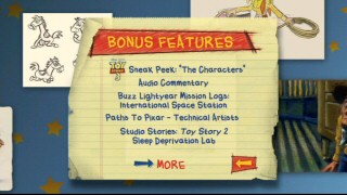 The bonus features menu screen on the 2010 Toy Story 2 DVD continues the new set's recycled motif of notebook paper and floating concept art.