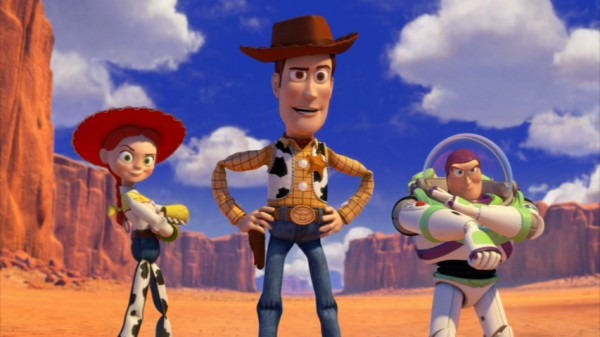 "Jessie, Woody, and Buzz Lightyear give us heroes' poses in this three-shot from the exciting western opening of ""Toy Story 3."""