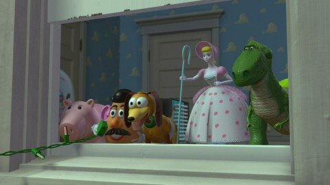 Hamm, Potato Head, Slinky, Bo Peep, and Rex are thrilled to see Woody still in one piece next door at Sid's house.