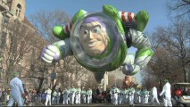 """Buzz Takes Manhattan"" in balloon form at the annual Macy's Thanksgiving Day Parade."