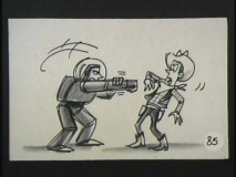 Buzz aims his not-so-deadly laser at Woody in this story reel of their first meeting.