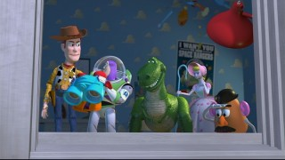 Woody, Buzz, Rex, Bo Peep, and Mr. Potato Head scope out the dangerous activities afoot at next door neighbor Sid's house.