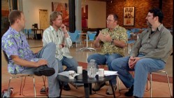 "Pete Docter, Andrew Stanton, John Lasseter, and Joe Ranft gather at a tiny roundtable for ""Filmmakers Reflect."""