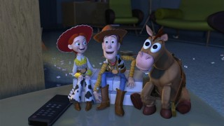 Woody excitedly learns he used to be a television icon from his old co-stars (sort of), Jessie and Bullseye.
