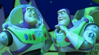 Buzz Lightyear is humbled by the sight of many figures who look exactly like him.