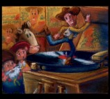 This color script conveys the visual motifs of the Woody's Roundup gang.
