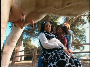 Raven dresses like a cow to try her hand at milking in