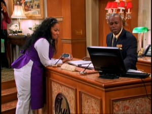 Amazed by her lack of ineptitude, Raven Baxter (Raven-Symoné) gets checked in at Boston's Tipton Hotel by manager Mr. Moseby (Phill Lewis).