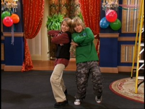 Zack and Cody (Dylan and Cole Sprouse) rehearse a birthday rap for their mom's surprise party.