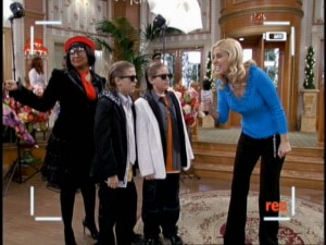 The reclusive French designer Pistache and her slick young models...oh wait, it's just Raven, Zack, and Cody in disguise.