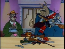 "Dressed in gangster garb, Baloo and Kit are surprised to discover the nature of important missing cargo in ""Time Waits for No Bear."""