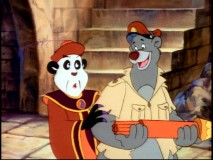 "The sinister citizens of Panda-La are pleased that Baloo mistakes their WMDs for fireworks in the banned episode ""Last Horizons."""