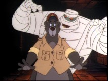 "A crazed mummy stands behind Baloo in an upside-down pyramid in ""In Search of Ancient Blunders."""